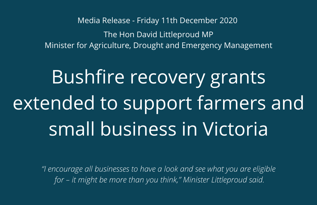 Bushfire recovery grants extended to support farmers and small business in Victoria 2